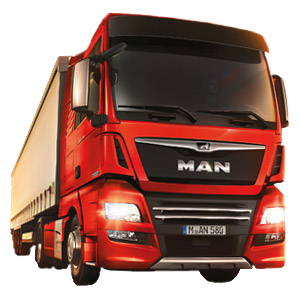 MAN TGX D38 in front of MAN lion