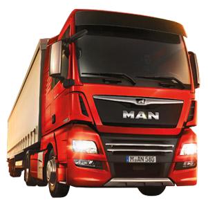 MAN TGX D38 lastebil med MAN løve